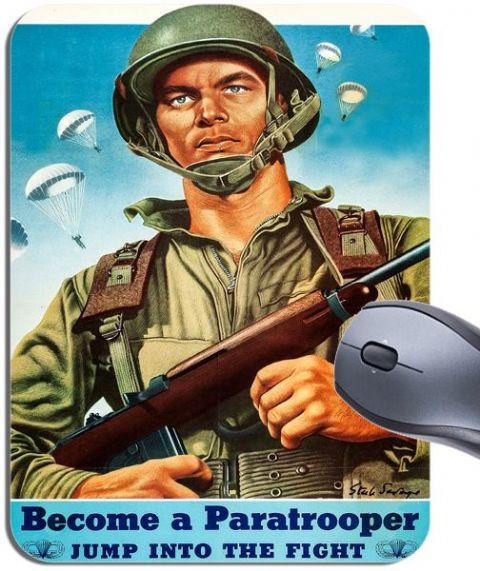 1940s WW2 Become a Paratrooper US Army Airborne Poster Mouse Mat Mouse Pad